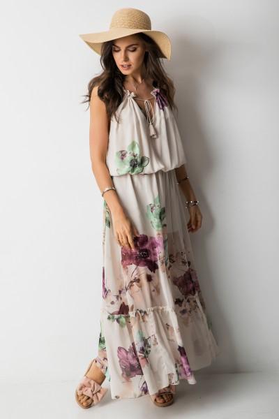 Catrice Sukienka Maxi Kwiaty Beż