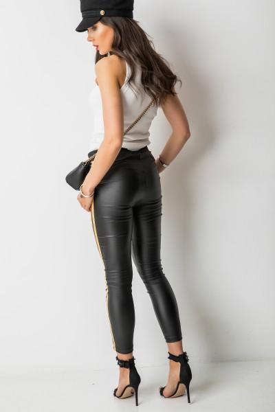 Woskowane Spodnie z Lampasami Czarne