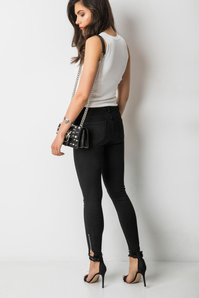 9519 Spodnie Zamki Czarne