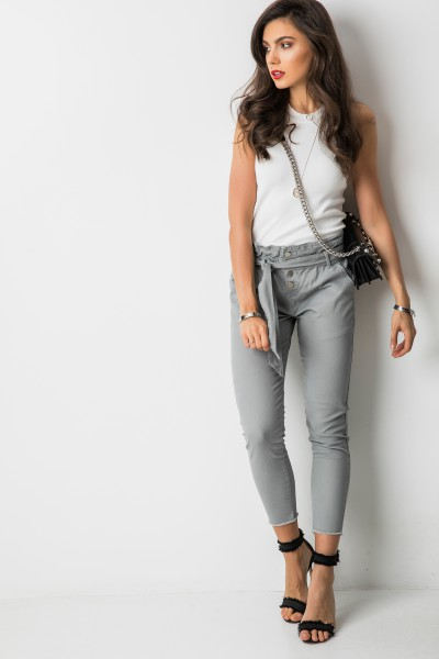 R172 Wiązane Spodnie Grey