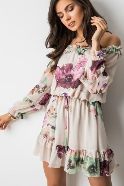 Casey Sukienka Kwiaty Beż