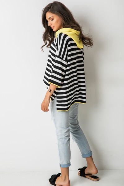 Elio Asymetryczny Sweter Kaptur Yellow