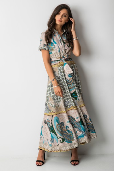 Finula Sukienka Maxi Gold/Blue