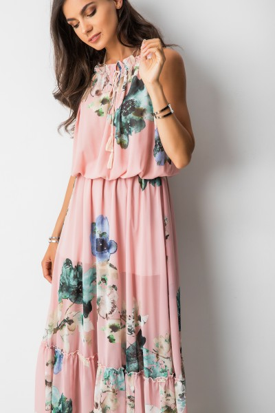 Catrice Sukienka Maxi Kwiaty Róż