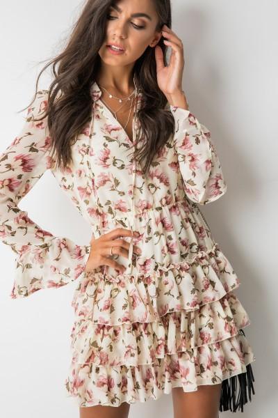Gaja Sukienka Kwiaty Ecru