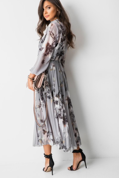 Catherina Sukienka Maxi Flowers Grey