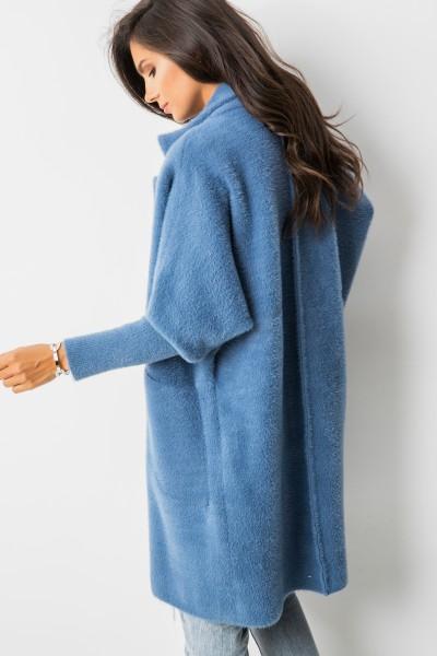 Bianco Płaszcz Z Włosem Długi Blue