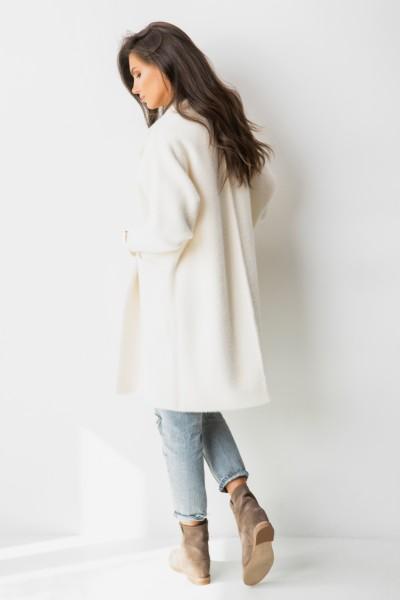 Bianco Płaszcz Z Włosem Długi Ecru