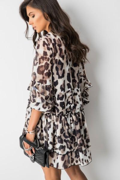 Tina Trapezowa Sukienka Panther Print