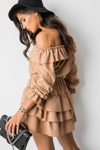 Anika Sukienka Hiszpanka Camel