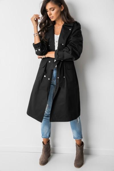Wiązany Płaszcz Black