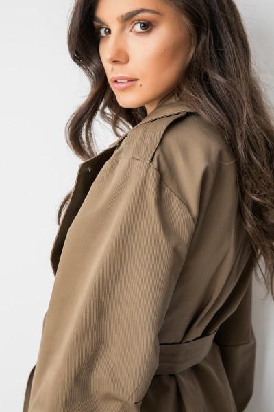 Wiązany Płaszcz Khaki