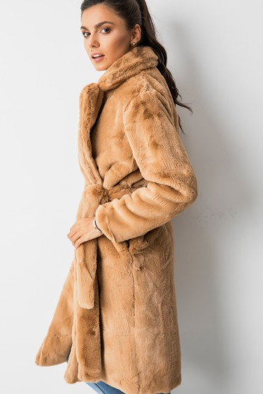 X301 Wiązany Płaszcz Pluszowy Camel