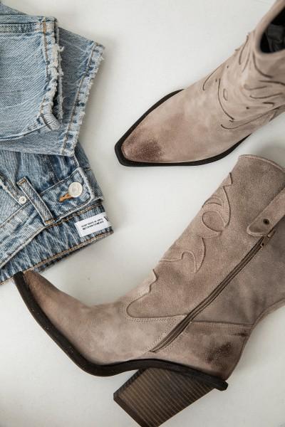Kozaki Cappucino Gładkie Cowboy Boots