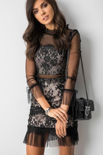 Sasza Sukienka Koronka Black/Beige