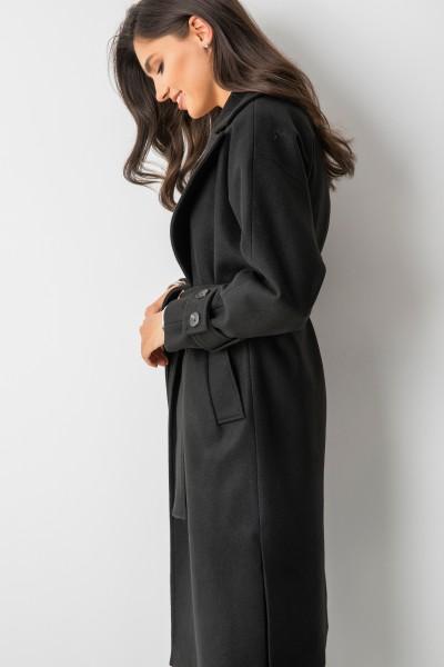 Wełniany Płaszcz Wiązany Black
