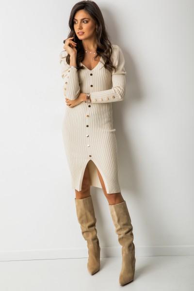 Kofi Sukienka Prążki Beż