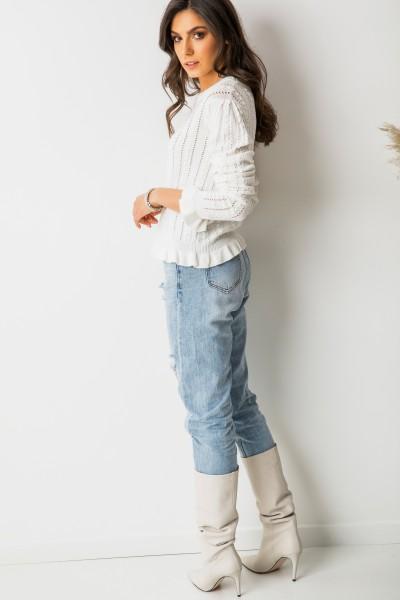 Lou Sweter Ażur White