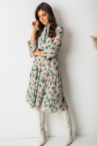Joy Sukienka Midi Green Flowers