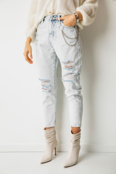 FL1459 Spodnie Jeansowe Mom Fit Light Blue