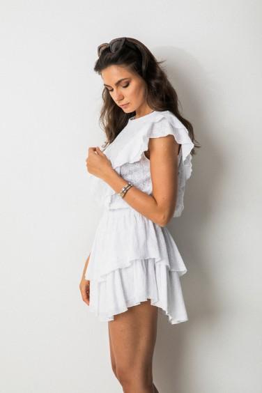 Holly Ażurowa Sukienka Biel