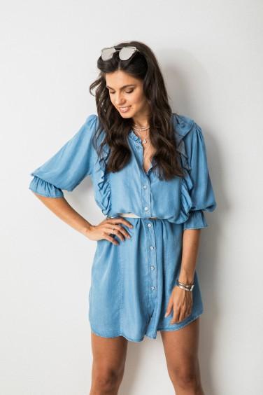 Lucy Sukienka z Guzikami Blue